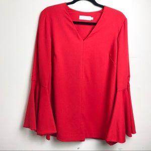 Kaelen Red Bell Sleeve Tunic